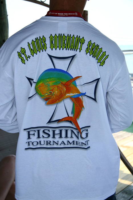 St louis covenant school fishing tournament gallery for Fishing sponsor shirts